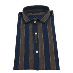 BROUBACK camicia uomo manica lunga righe blu/moro NISIDA N29 col 90 MADE IN ITALY