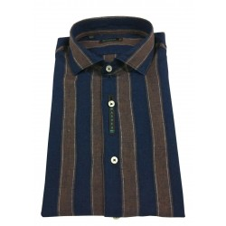 BROUBACK man shirt long sleeve blue / dark stripes NISIDA N29 with 90 MADE IN ITALY