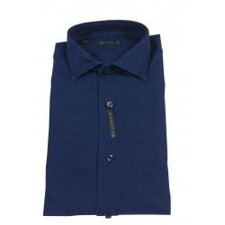 BROUBACK camicia uomo manica lunga bluette tessuto operato mod NISIDA N30 col 91 MADE IN ITALY