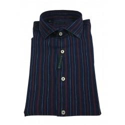 BROUBACK camicia uomo manica lunga righe larghe blu / bordeaux LAVATO NISIDA N27 col 88