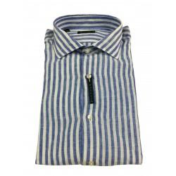 BROUBACK camicia uomo manica lunga righe Azzurro / bianco WASHED NISIDA N66