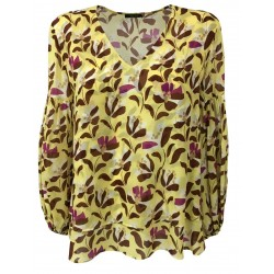 HANITA woman long sleeve blouse yellow dark brown / fuchsia pattern H.M2101.2795 MADE IN ITALY