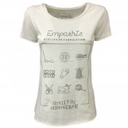 EMPATHIE T-shirt donna panna mezza manica mod 2001 100% cotone MADE IN ITALY