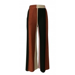 BE LIMOUSINE palazzo pants woman striped black / rust / platinum / pink mod LP005LR ASIA MADE IN ITALY