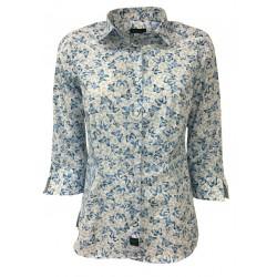 BROUBACK camicia donna manica 3/4 fantasia farfalle bianco/celeste mod TASHA N17 MADE IN ITALY