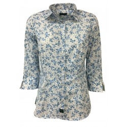 BROUBACK woman shirt 3/4 sleeve butterfly pattern white / light blue mod TASHA N17 MADE IN ITALY