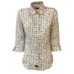 BROUBACK camicia donna manica 3/4 Bianco pois Beige mod TASHA N31 MADE IN ITALY