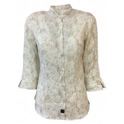 BROUBACK camicia donna manica 3/4 bianca fantasia Beige collo coreano TASHA KOREA N32 MADE IN ITALY
