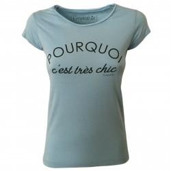 EMPATHIE T-shirt donna celeste mezza manica mod 0105 100% cotone MADE IN ITALY