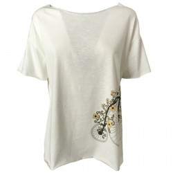 EMPATHIE women's t-shirt cream mod 2201 100% cotton MADE IN ITALY