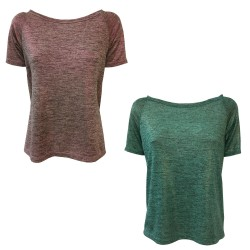24.25 t-shirt donna mezza manica jersey mélange spalmato mod DD20 639 MADE IN ITALY