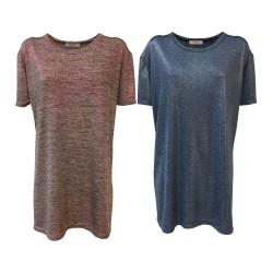 24.25 maxi t-shirt donna mezza manica jersey mélange spalmato DD638 MADE IN ITALY