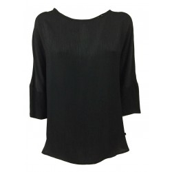 RUE BISQUIT blusa donna manica 3/4 nero mod RS7076 100% viscosa MADE IN ITALY