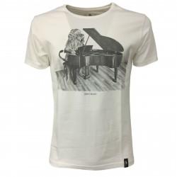 DIRTY VELVET T-shirt uomo bianco mod CONCERTO CAT DV64724 100% organic cotton