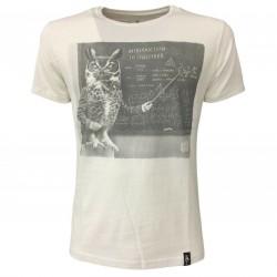 DIRTY VELVET t-shirt man white art OWLGEBRA DV64728 100% organic cotton