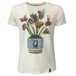 DIRTY VELVET T-shirt uomo bianco mod PLANT FOOD DV64710 100% organic cotton