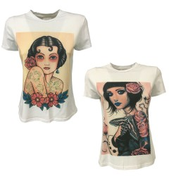 LOUXURY t-shirt donna mezza manica con stampa mod LARA MADE IN ITALY