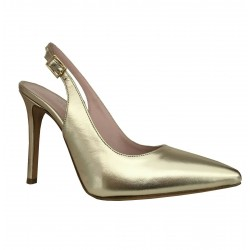UPPER CLASS décolleté laminated open behind platinum covered heel 10 cm mod 714 MADE IN ITALY
