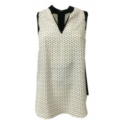 HANITA top woman white / black polka dot details black mod H.M2074.2737 MADE IN ITALY
