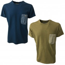 BKØ t-shirt uomo militare taschino righe mod DU18013 100% cotone MADE IN ITALY