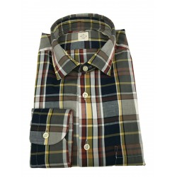 MGF 965 long sleeve shirt with pocket in gray / dark / yellow madras checks mod 10.TG.L 901336