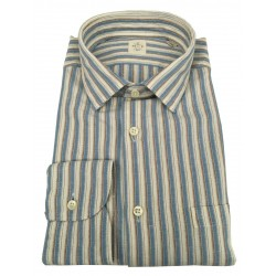 MGF 965 man shirt long sleeve with pocket ecru / light blue / leather stripes 10.TG.L 901321