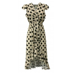 TRY ME FIRENZE abito donna, manica scesa, beige pois nero mod 6000/35ST 100% poliestere MADE IN ITALY