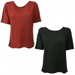 DES PETITS HAUTS T-shirt donna manica corta mod HALIMATOU 100% lino