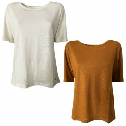DES PETITS HAUTS T-shirt donna punti oro manica corta mod HALIMATOU 2 100% lino