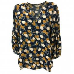 DES PETITS HAUTS women's blouse blue/ocher 100% viscose mod TINILA