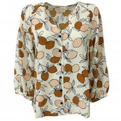 DES PETITS HAUTS women's blouse cream/beige/blue 100% viscose mod RAFAELO