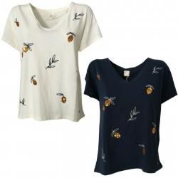 DES PETITS HAUTS T-shirt donna con applicazioni e ricami mod KANIPSO 100% cotone