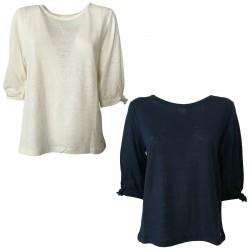 DES PETITS HAUTS T-shirt donna manica 3/4 mod HALIFA 100% lino