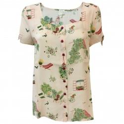 DES PETITS HAUTS women's shirt pink 100% viscose mod EMALIA