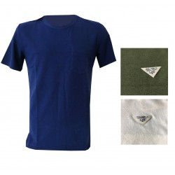 LEE 101 man crew neck t-shirt with pocket LINEN COTTON TEE pad blue mod L90AHKPI