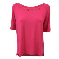 CORTE DEI GONZAGA GOLD t-shirt woman crew neck half sleeve fuchsia mod 1C 4870 E9929