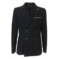 ROYAL ROW giacca uomo jeans cimosato doppiopetto 100% cotone MADE IN ITALY vestibilità slim