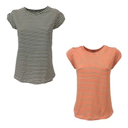RUE BISQUIT woman crew neck t-shirt with stripes mod RS8006 100% cotton MADE IN ITALY