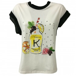 KORALLINE Woman white cotton t-shirt with print and rhinestones mod 308