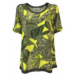 CORTE DEI GONZAGA GOLD maglia mezza manica jersey fantasia militare/giallo con inserti rete nera