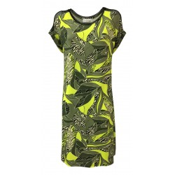 CORTE DEI GONZAGA GOLD woman dress dropped sleeve military / yellow fantasy jersey with black mesh inserts