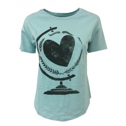 EMPATHIE t-shirt donna mezza manica acquamarina 100% cotone MADE IN ITALY
