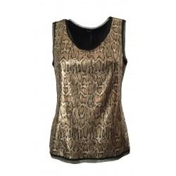 HANITA top donna nero/bronzo stampato animalier H.M2083.2698 MADE IN ITALY