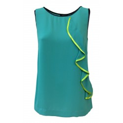 HANITA turquoise woman top with blue and yellow profiles mod H.M1696.2061 MADE IN ITALY