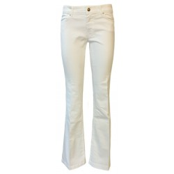 7.24 Woman white paw jeans with regular waist with zip mod Evelin MADE IN ITALY