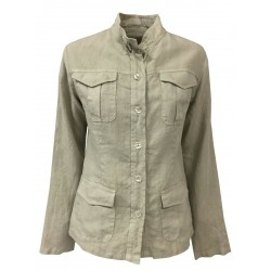 FLY3 Beige woman jacket with pocket and patch pockets mod GD164 100% linen MADE IN ITALY