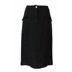 FLY3 blue woman skirt mod PD673M 100% linen MADE IN ITALY