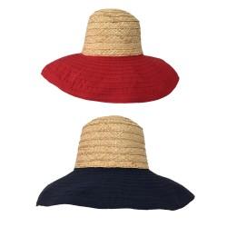 CM ACCESSORI cappello donna mod PAGODA raffia e gro di cotone con ferretto finale che si può piegare
