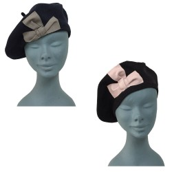 CM ACCESSORI woman beret with application 100% cotton MADE IN ITALY