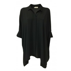 AR.12 woman shirt over black half sleeve with slits mod LUCIA MADE IN ITALY